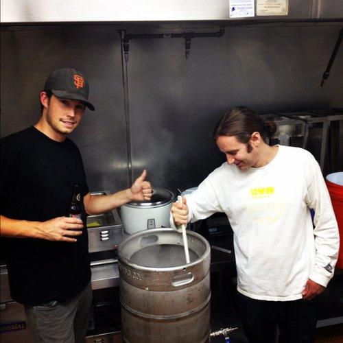 California Kebab and Beer Garden owner JC Hill (left) and brewer Cy Henley stirring things up.