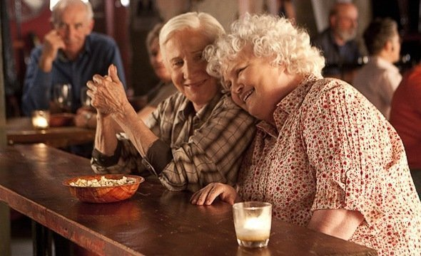 "Olympia Dukakis and Brenda Fricker in ""Cloudburst."""