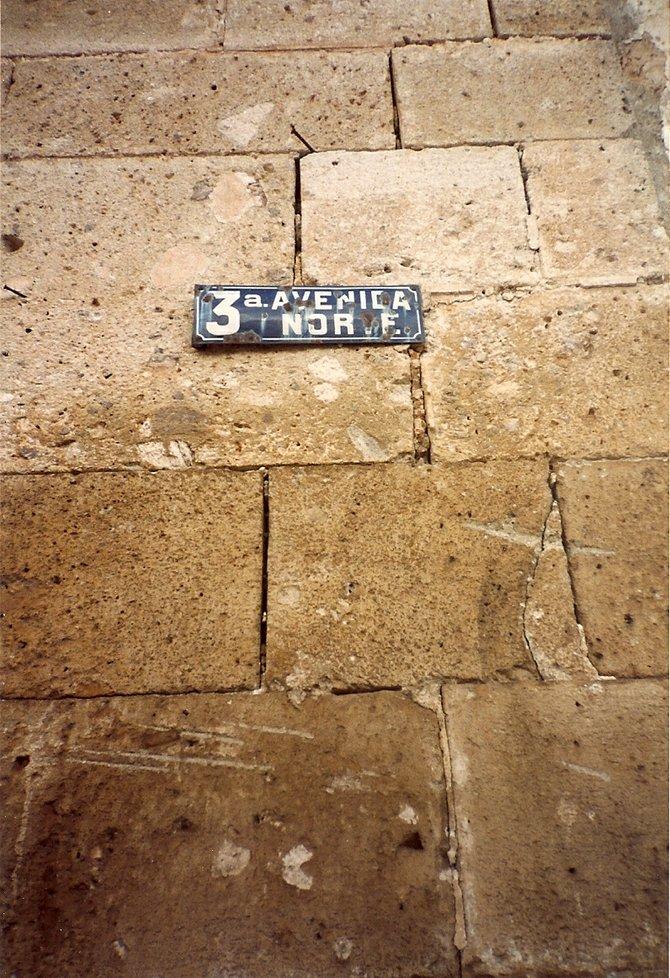 3a. Avenida Norte Sign.  Antigua, Guatemala.  1993