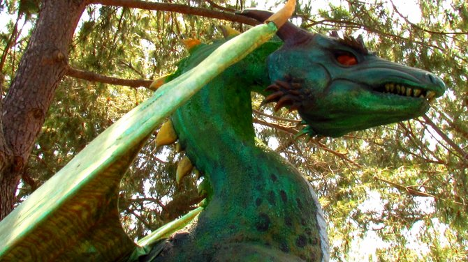 One of the Village Dragons Beneath Shade Trees