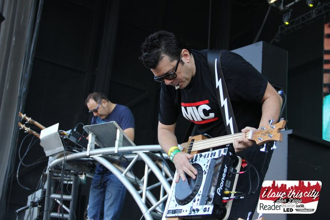 The Crystal Method on stage.