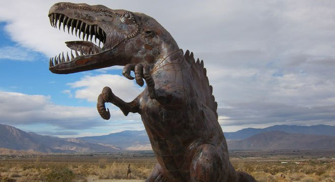 Residents wonder whether the dozens of life-sized sculptures near Borrego Springs signify a return to prehistoric times.