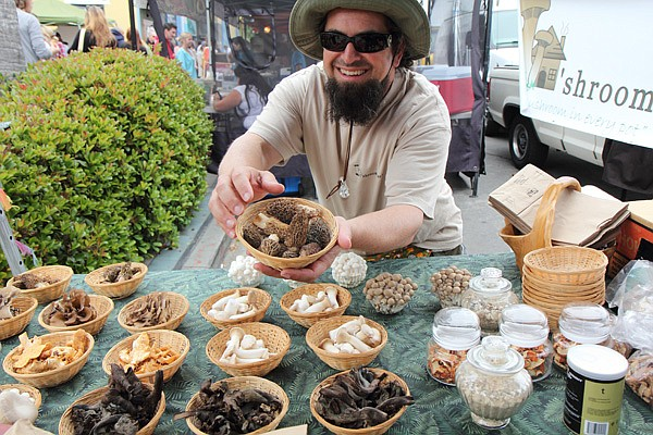 "Mushrooms that look more like artwork than fungi. Kenny ""the Mushroom Man"" sells them at six local farmers' markets."