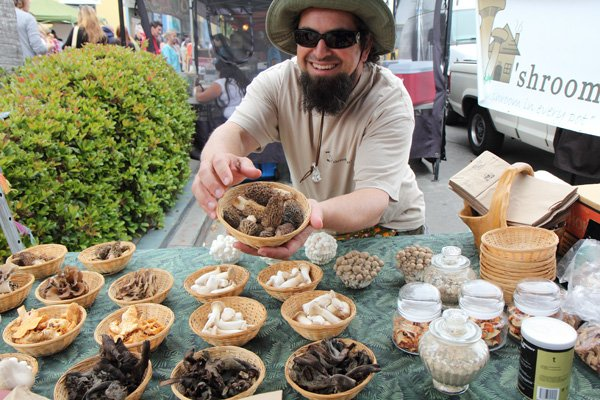 "Mushrooms that look more like artwork than fungi. Kenny ""the Mushroom Man"" sells them at six local farmers' markets."