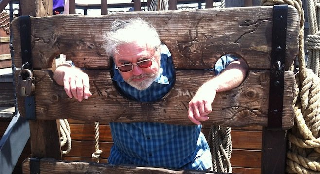Dad in the stocks