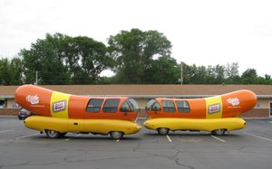 No, you're not seeing double!  We came across TWO Wienermobiles parked in a Westville, IN parking lot back in 2010!