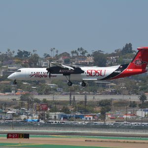 Justin-- plane-spotting today caught this new SDSU-themed Alaska Airlines plane.