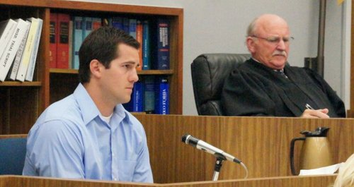 Store employee, left, gives testimony.  Judge Cline on right.  Photo Bob Weatherston.