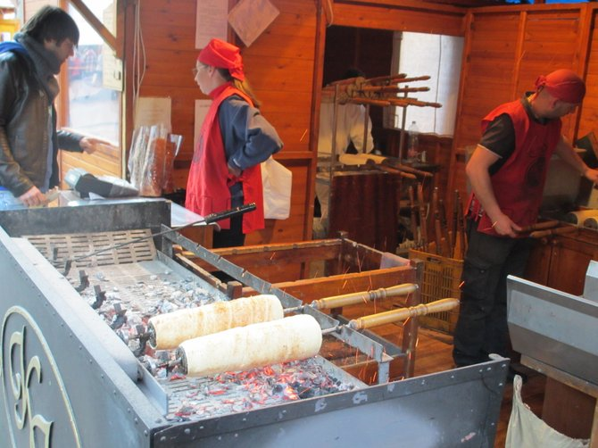 Chimney cake freshly baked using traditional wood chip fire, in Budapest.  Yum!