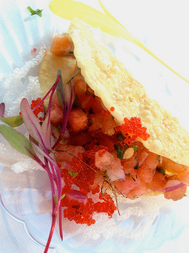 Peohe's Lomi Lomi Taco with salmon, watermelon, red onion, cilantro and roe.