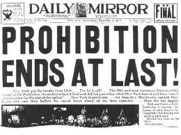 Prohibition ends in 1933