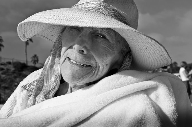 Ann catching some rays in Solana Beach, CA at 92 years old and still sharp!
