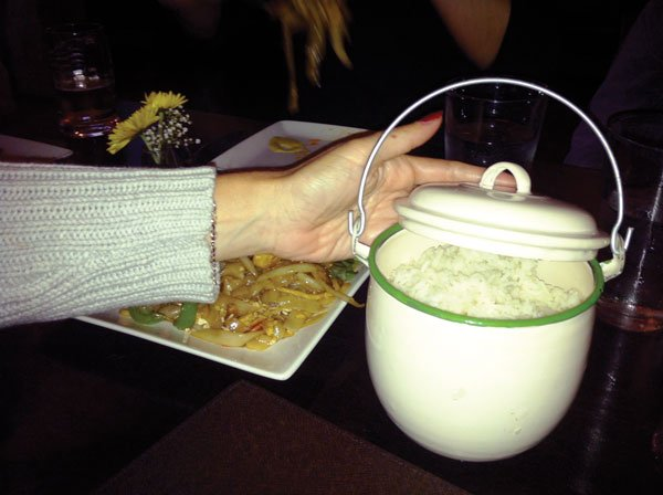 I doled out steamed jasmine rice from a metal pot.