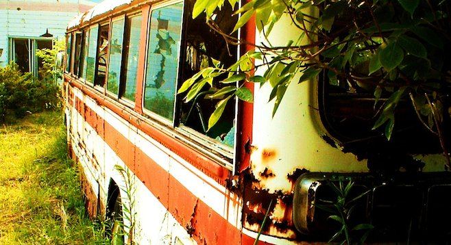 Abandoned school bus at the end of Nishiyama Crater Trail, Lake Tōya.