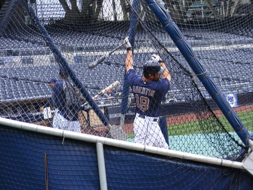 Carlos Quentin taking batting practice.