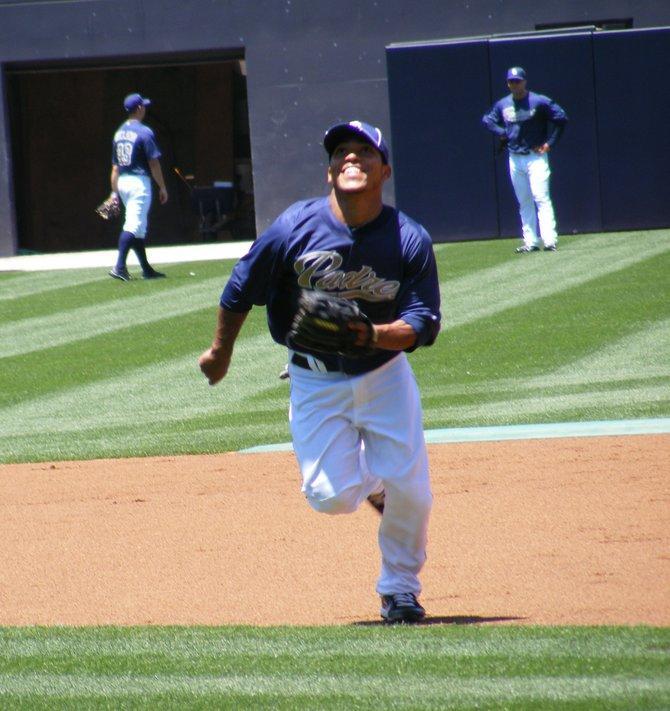 Padres second baseman Alexi Amarista, shagging pop-ups pregame.