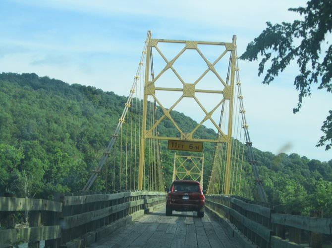 Take your turn when crossing the one-lane bridge in Holiday Island, Arkansas.