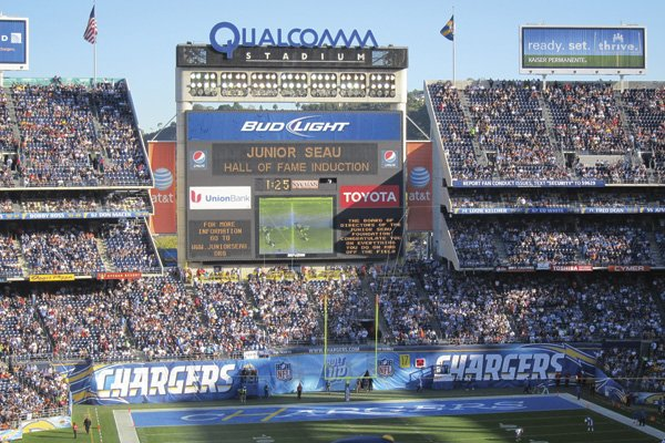 Junior Seau's induction into the Chargers hall of fame was noted on the Jumbotron last November.