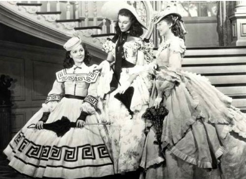"Ann Rutherford, Vivien Leigh, and Evelyn Keyes as Carreen, Scarlett, and Suellen O'Hara in ""Gone With the Wind"" (1939)."