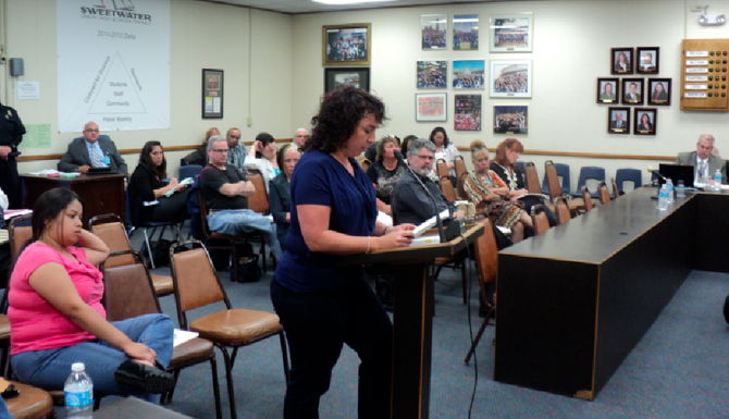 Maty Adato, speaking at the June 11 Sweetwater Union High School District board meeting