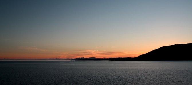 Entering Glacier Bay at dawn.