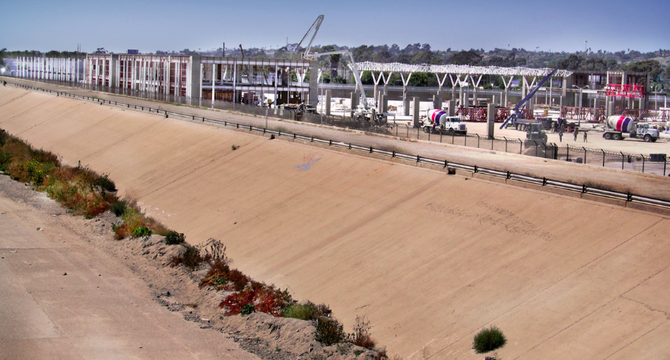 Mexican border station, adjacent to Tijuana River.
