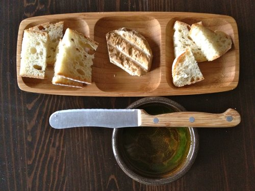 Smoked goat ricotta, cracked black pepper/olive oil dip, rustic bread.
