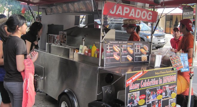 Japadog cart in downtown Vancouver. Fact: Ice Cube has eaten here 10 times.