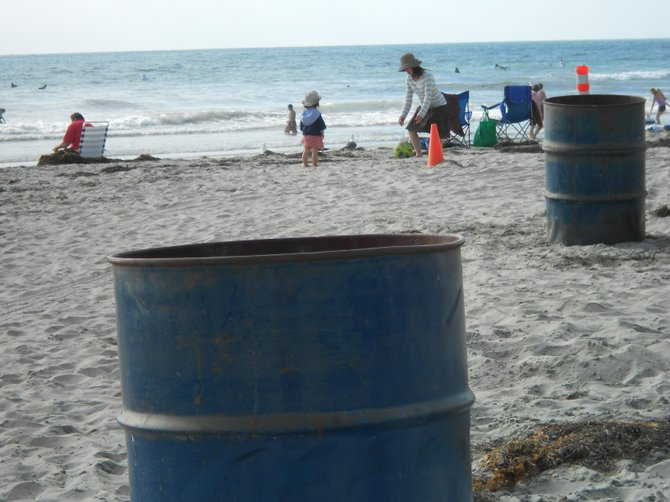 Plenty of trash cans make for clean beaches along La Jolla Shores.