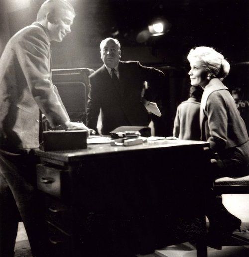 William Shatner, Alfred Hitchcock, and Diana Van der Vlis.