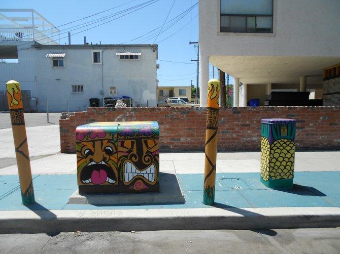 Exotic utility box art along Bacon Street in Ocean Beach.