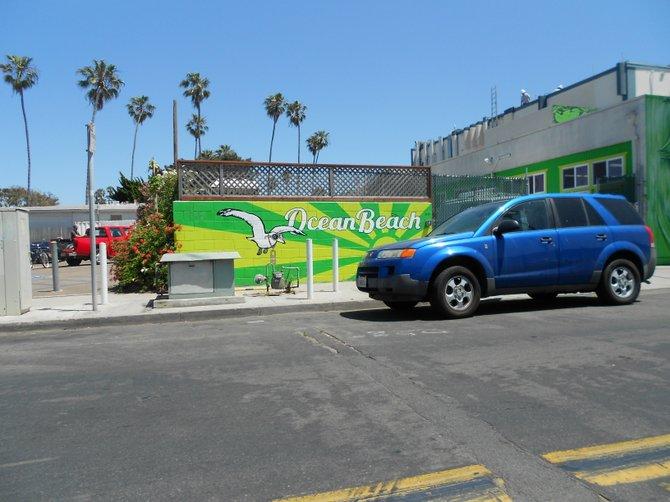 Bacon Street wall art in Ocean Beach near Robb Field.