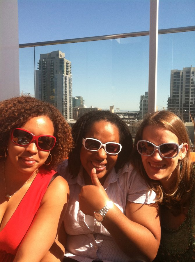 Red (Alysia), white (Candis) and blue (Bridget) at Altitude Bar, downtown San Diego.