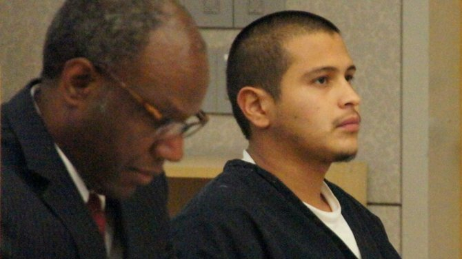 Public defender Michael Washington and Ruben Anthony Cepeda.  Photo Bob Weatherston.