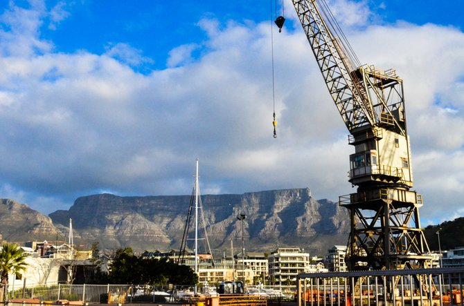A picture taken at the Cape Town, South Africa with Table Mountain in the background. It's gorgeous!