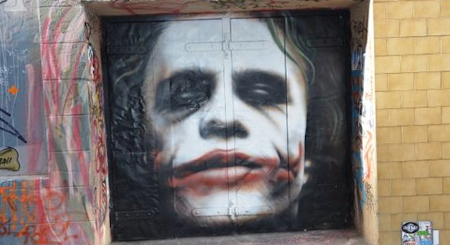 When in Melbourne, check out a mural of Heath Ledger's Joker on Hosier Lane.