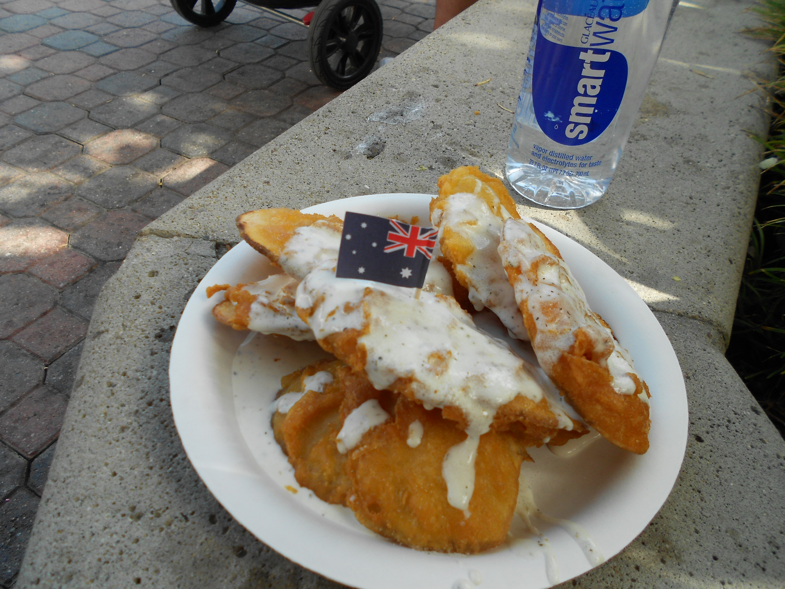 Yummy! Australian Battered Potatoes with ranch dressing at Del Mar Fair.