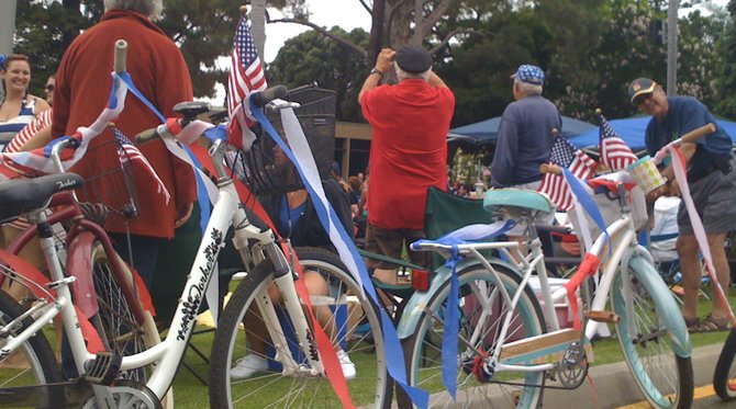Bikes on parade route. 4th of July, 2012, Coronado.