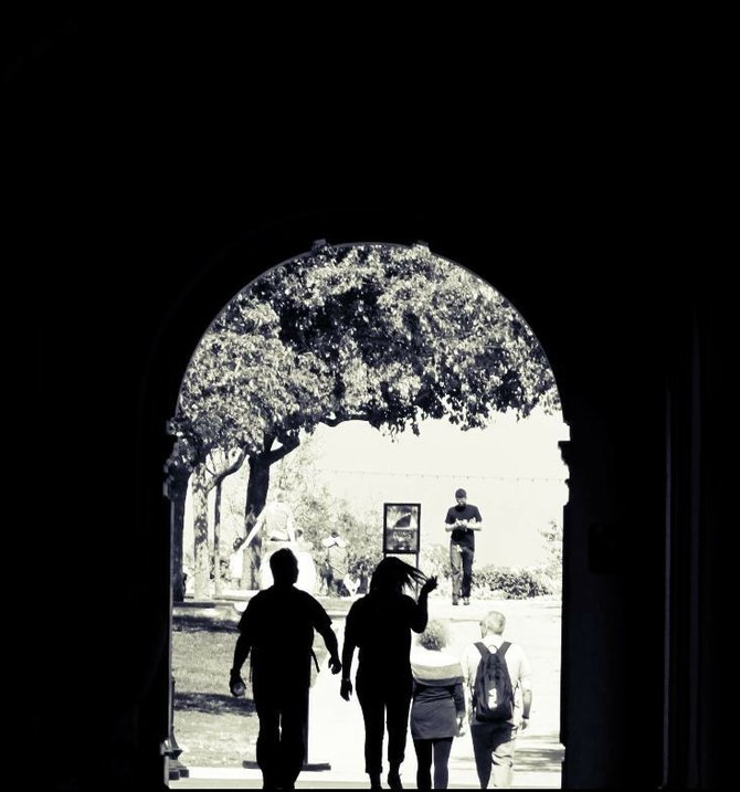 This photo was taken in Balboa Park through the tunnel of hallways outside.