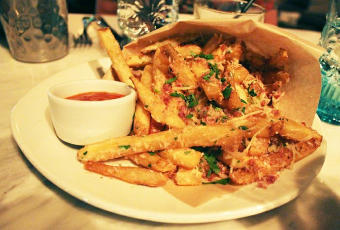Duck fat fries with tomato jam