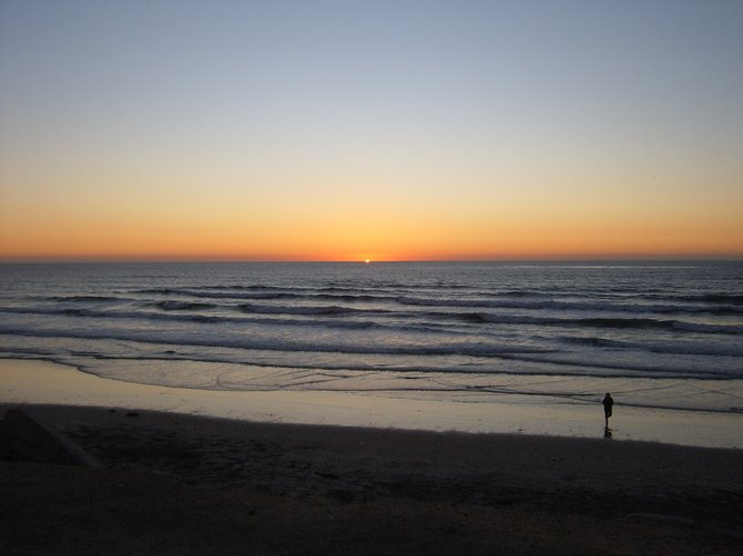 Del Mar sunset from a park bench