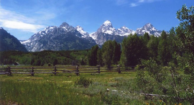 Summertime Wyoming: Grand Tetons from a distance.