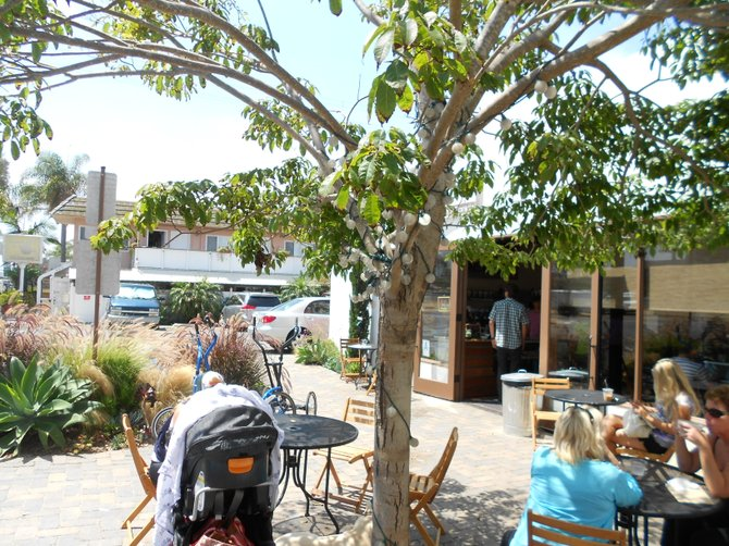 Outdoor patio of Cafe Ipe and Surfy Surfy where Surfing Madonna is now located in Leucadia.