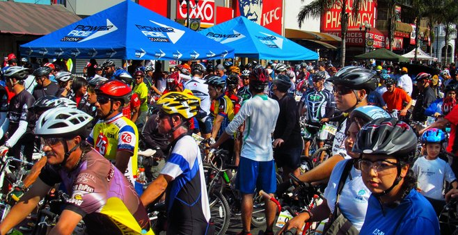"""At the Tijuana firefighters' """"bike-a-thon,"""" July 8, 2012"""