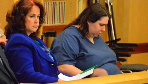 Public defender Sloan Ostbye and defendant Jessica Lopez.  Photo Bob Weatherston.