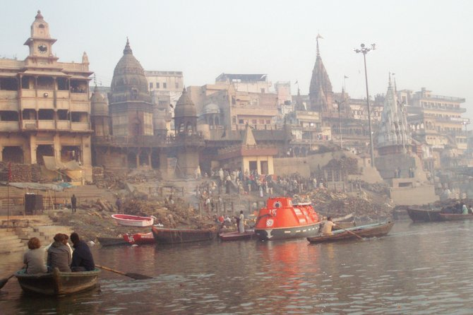view of Varanasi from the Ganges River