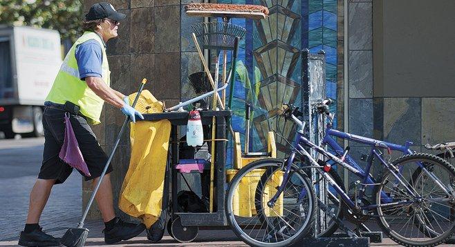 Sidewalk cleaning...