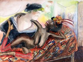 Title: Sailor with Black Nude, Artist: Otto Dix