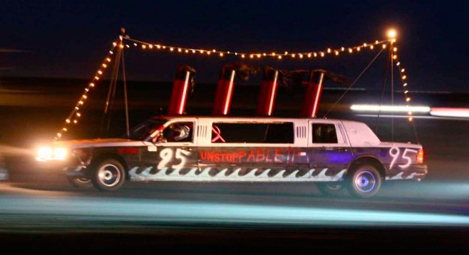 A ten-passenger 1996 Lincoln Town Car limo masquerading as the Titanic. Genius.