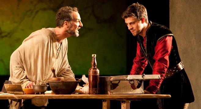 Divine Rivalry, now at the Old Globe, stars Euan Morton as Michelangelo Buonarroti and Sean Lyons as Niccolo Machiavelli.